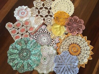 Lot of 13 Vintage Coloured Hand Crochet Centrepieces Round Doilies Craft Use