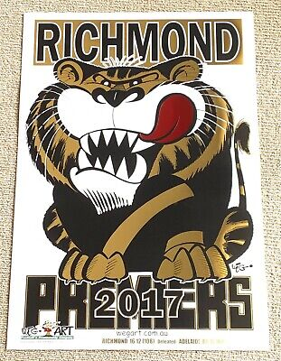 2017 Richmond Tigers WEG Wegart FOIL Premiership Poster
