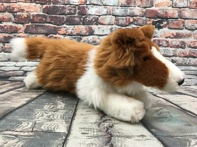 """Animal Alley 16"""" COLLIE Puppy Dog Plush Laying Down Stuffed Animal Soft Toy"""