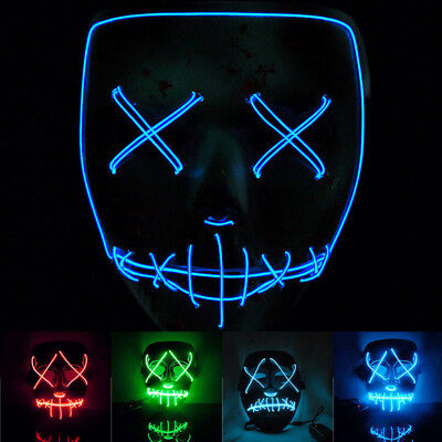 For the Purge Movie EL Wire DJ Party Festival Costume LED Mask AU