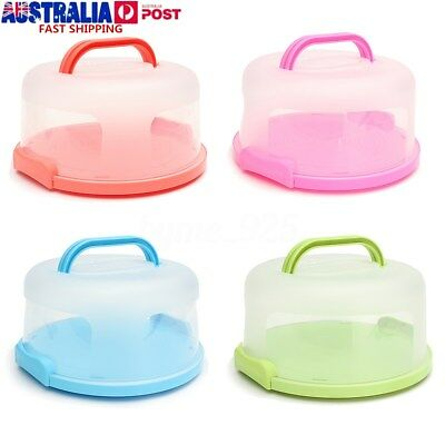 Portable Round Cake Dome Holder Container Carrier Handle & Clip Lock BPA Free AU