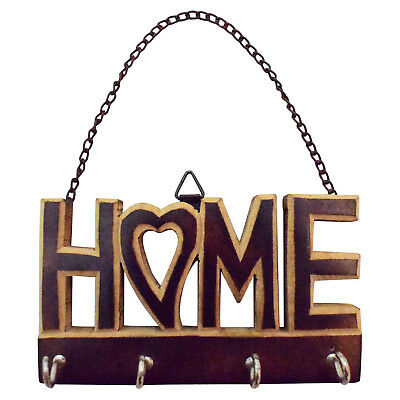 """Home"" Decorative Wall Mounted Hanging Key Holder Small 4 Hooks Organizer"