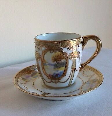 Noritake Porcelain Enamel Gold Gilded & Beaded Landscape Coffee Cup And Saucer