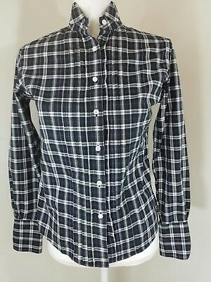 e4492aaef Brooks Brothers Women Sz 4 Top Green White Plaid Stripes Button down Long  sleeve