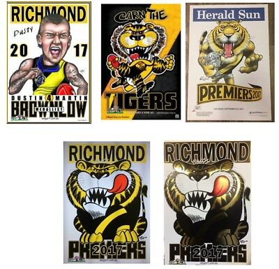 2017 Richmond Tigers WEG Wegart FOIL Premiers Poster & Knight, Dusty And More!