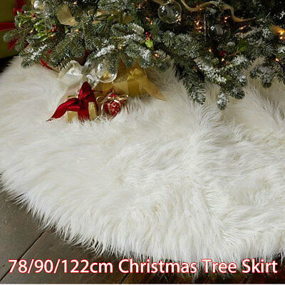 78/90/122CM White Christmas Tree Skirt Stand Apron Ornaments Party Home Decor US
