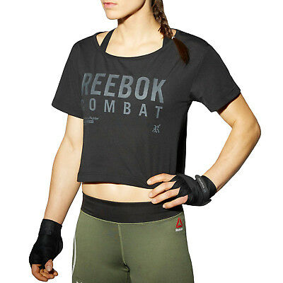 Reebok Womens Combat Crop Tee Sports Training Short Sleeve Cropped T-Shirt Top