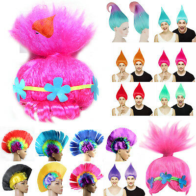 Trolls Poppy Elf/Pixie Wigs Mohawk Mohican Hair Wig Cosplay Hairpiece Kid/Adult