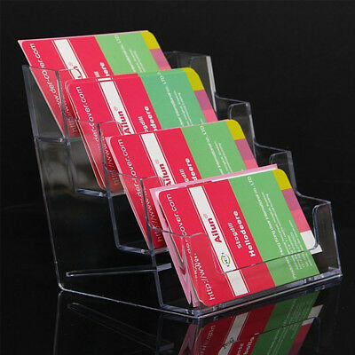 4 Pocket Desktop Clear Acrylic Business Card Holder Countertop Display Stand Hot