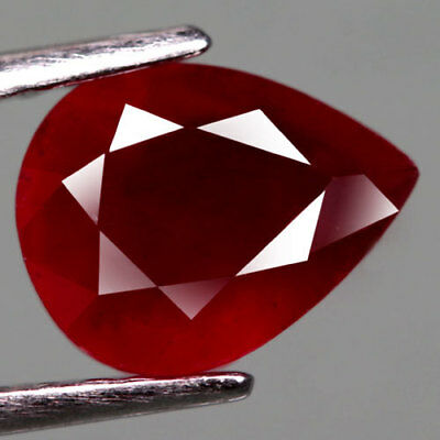 2.19Ct.lovely! Pear Facet Top Blood Red Natural Ruby Madagascar