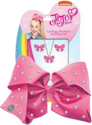 JoJo Siwa Large Rhinestone Signature Hair Bow Earrings & Necklace Girls' Fashion