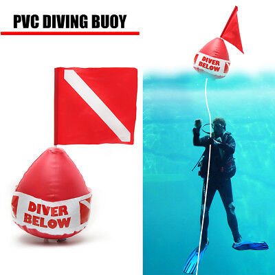 Dive Below Inflatable Scuba Diving Bouy Ball Flag Signal Floater Surface Marker