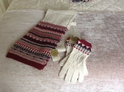 brand new Accessorize Wool blend scarf and gloves
