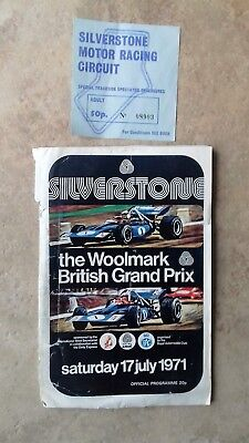 Silverstone British F1 Grand Prix Programme for 1971 with ticket.