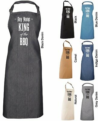 PERSONALISED KING OF THE BBQ APRON PR150 - Any Name Denim Colours Barbecue Dad