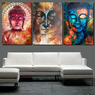 3Pcs Painting PRINT Modern Abstract Art Wall Decor Canvas Colorful Buddha S/L