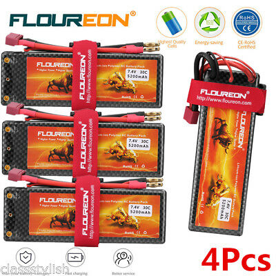 4X 2S 30C 7.4V 5200mAh LiPo Battery Deans for Car Vehicle Truck Helicopter Drone