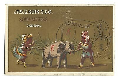 Old Trade Card Jas Kirk Soap Makers Chicago Elephant Blue India