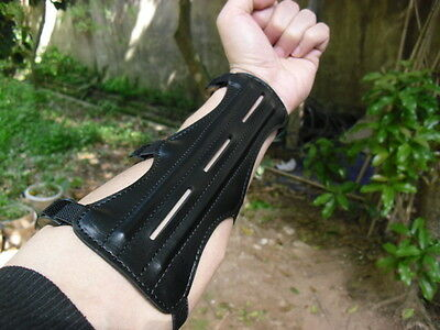Real Leather Shooting Archery Arm Guard Protection Safe/St Guard Black  UK