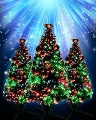 GREEN XMAS TREE INDOOR FIBRE OPTIC FREE STANDING ARTIFICIAL 3ft, 1.5ft Christmas