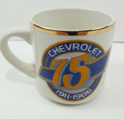 Vintage Chevrolet 75th Anniversary Coffee Cup-1911-1986 Gold Rim