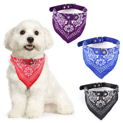 Adjustable Cute Pet Dog Cat Neck Scarf Bandana with Leather Collar Neckerchief