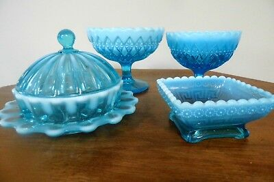 Davidson Victorian Pearline Pressed Glass blue collection antique