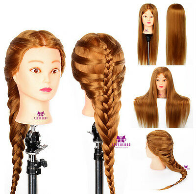 "26"" 30% Real Human Hair Hairdressing Practice Training Head Doll Mannequin Clamp"