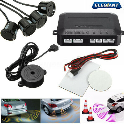 ELE Car Reverse Parking Sensor Rear 4 Sendors LCD Display Audio Buzzer Alarm Kit