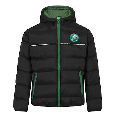 Celtic FC Official Football Gift Boys Quilted Hooded Winter Jacket
