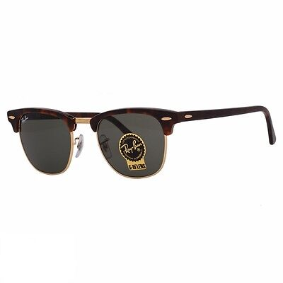 AUTHENTIC RAY-BAN CLUBMASTER SUNGLASSES Tortoise/Gold Frame With Green Lens 51MM