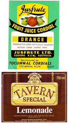 Nsw & Vic Soft Drink Labels. No Contents & Ml.  Mint.