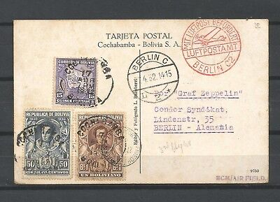 Bolivia,Germany,Graf Zeppelin,,1932,air mail,post card from Bolivia to Berlin