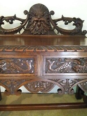 Green Man Hall Table - Carved Gothic - Console Table
