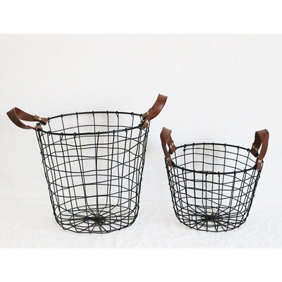 Metal Wire Iron Basket Magazine Post Stairs Storage Crate Vintage Mesh Black