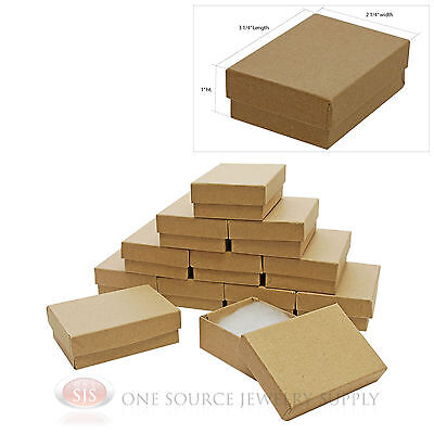 "12 Brown Kraft Cotton Filled Jewelry Gift Boxes 3 1/4"" X 2 1/4"" Bracelet Box"