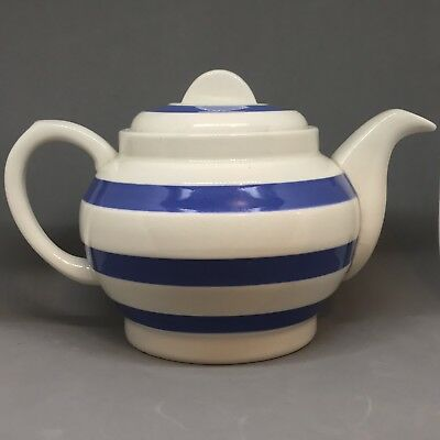 Staffordshire Ironstone Teapot Blue & White Vintage Chef Ware
