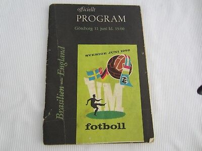 1958 WORLD CUP BRAZIL v ENGLAND OFFICIAL PROGRAMME