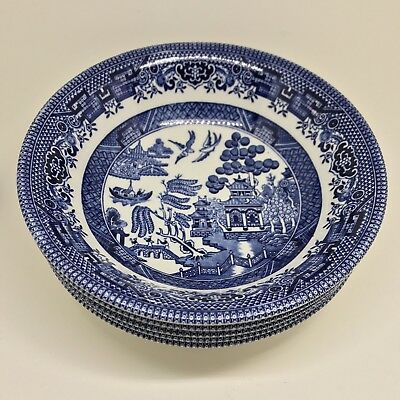Churchill England Blue Willow Cereal Bowls Set Of 4 Soup Dessert 6 Inch