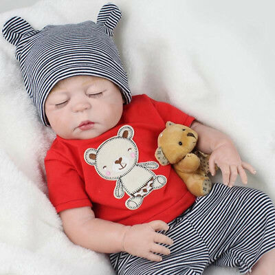 "21"" Full Body Silicone Reborn Sleeping Doll Soft Vinyl Lifelike Newborn Baby Boy"