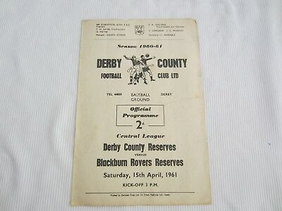 1960-61 CENTRAL LEAGUE RESERVES DERBY COUNTY v BLACKBURN ROVERS