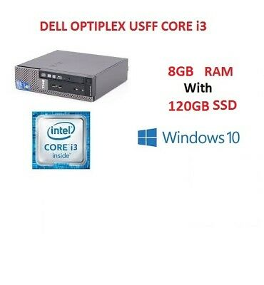 Fast Cheap Dell 790 USFF Core i3 PC COMPUTER WITH 8GB RAM 120GB SSD Windows 10