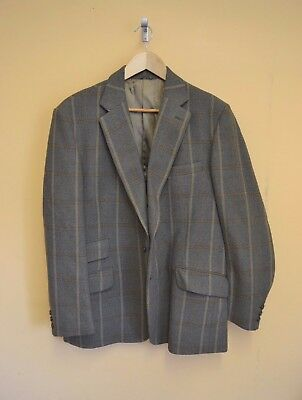 "Vintage Mens John G Hardy Green Check Blazer Jacket 100% Wool Size 44"" Chest #A"