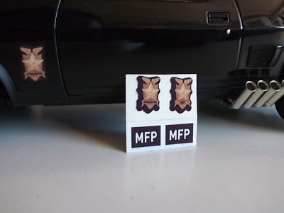 "1/18 Mad Max Decals Stickers ""black Interceptor"" Ford  License Plates -Shields"