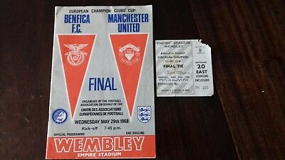 European Champions Clubs Cup 1968 Manchester United vs Benfica Programme Ticket