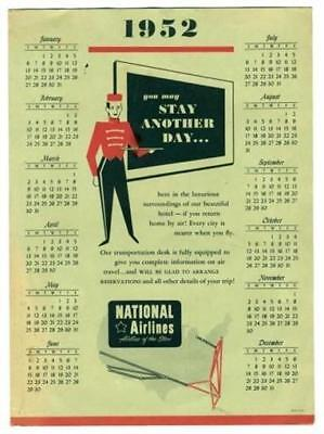 1952 National Airlines Advertising Calendar Route Map Hotel Travel  Giveaway