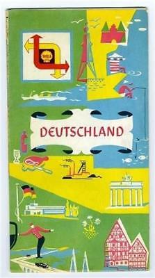 Shell Touring Service Deutschland Map Germany 1950's
