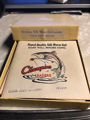 Box of 12 Vintage Champion 3ft medium silk worm gut leaders fly fishing NOS WOW