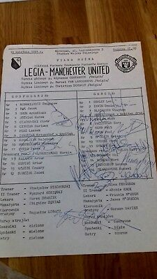 Football autographs Manchester United April 1991 Legia -