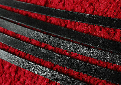 """5 strips 67"""" long 8mm wide BLACK LEATHER STRIP FLAT CORD LACE STRAP 2.5mm thick"""